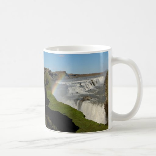 Gullfoss waterfall in summer coffee mugs