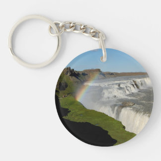 Gullfoss waterfall in summer Double-Sided round acrylic keychain