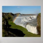 Gullfoss waterfall in summer poster