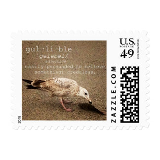Gullible, stress on Gull. Postage