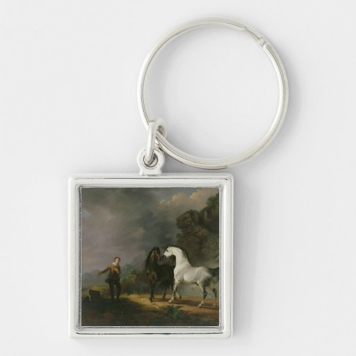 Gulliver Addressing the Houyhnhnms, 1769 (oil on c Silver-Colored Square Keychain