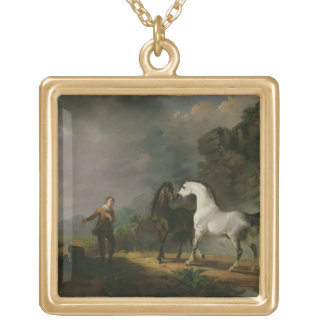 Gulliver Addressing the Houyhnhnms, 1769 (oil on c Square Pendant Necklace