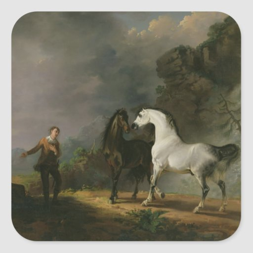 Gulliver Addressing the Houyhnhnms, 1769 (oil on c Square Sticker