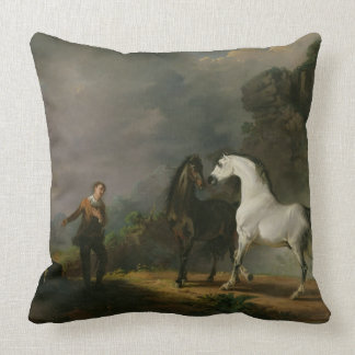 Gulliver Addressing the Houyhnhnms, 1769 (oil on c Throw Pillow