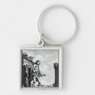 Gulliver amongst the Lilliputians Silver-Colored Square Keychain