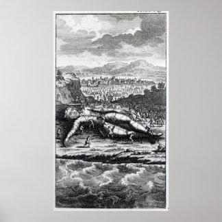 Gulliver capturó por los Lilliputians Póster