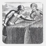 Gulliver es descubierto por un granjero adentro pegatina cuadrada