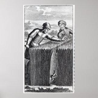Gulliver es descubierto por un granjero adentro póster