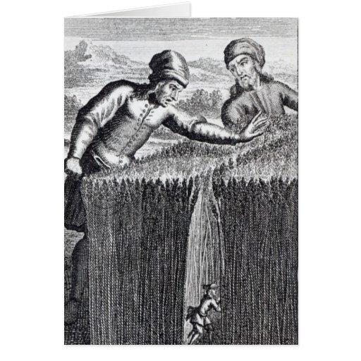 Gulliver es descubierto por un granjero adentro tarjeta de felicitación