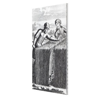 Gulliver is discovered by a farmer in canvas print