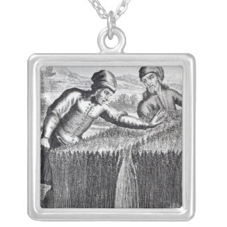 Gulliver is discovered by a farmer in square pendant necklace