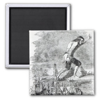 Gulliver stealing the Blefuscudian fleet 2 Inch Square Magnet