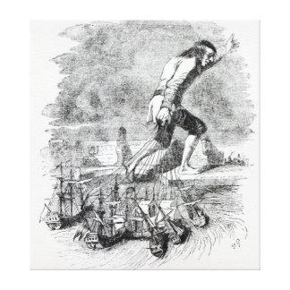 Gulliver stealing the Blefuscudian fleet Canvas Print