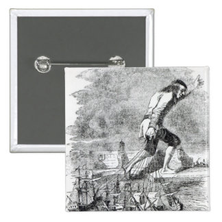 Gulliver stealing the Blefuscudian fleet Pinback Button