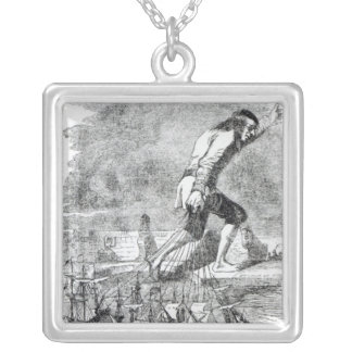 Gulliver stealing the Blefuscudian fleet Silver Plated Necklace