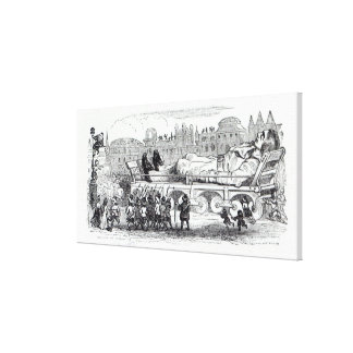 Gulliver transported to the Lilliputian Canvas Print
