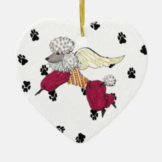 Gulliver's Angel Poodle Ceramic Heart Ornament