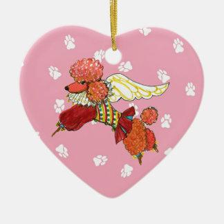 Gulliver's Angels Apricot Poodle Ceramic Heart Ceramic Ornament
