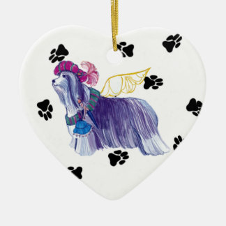Gulliver's Angels Bearded Collie Ceramic Heart Ceramic Ornament