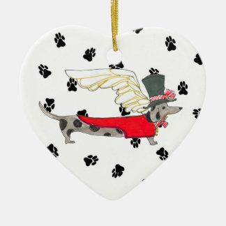 Gulliver's Angels Dapple Dachshund Ceramic Heart Ceramic Ornament