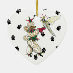 Gulliver's Angels Poodle and Falcon Ceramic Heart Christmas Tree Ornament
