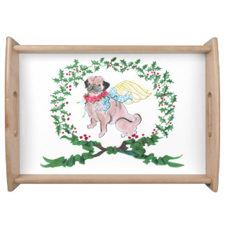 Gulliver's Angels Pug Holiday Serving Tray