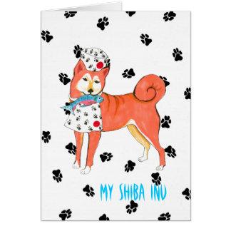 Gulliver's Angels Shiba Inu Bone Mot Greeting Card