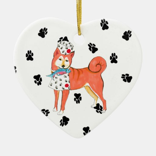 Gulliver's Angels Shiba Inu Ceramic Heart Ornaments