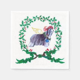 Gulliver's Bearded Collie Christmas Napkins