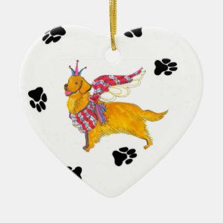 Gulliver's Golden Angel Ceramic Heart Ornament