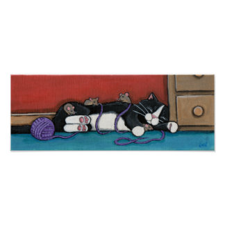 Gulliver's Nap - Whimsical Cat Print