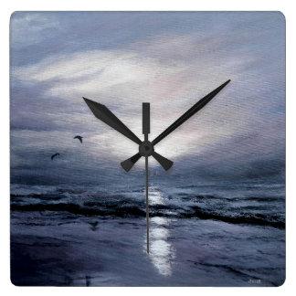 Gulls at Sundown Square Wall Clock