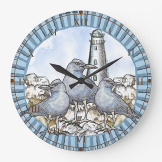 Gulls Guide Lighthouse Large Clock