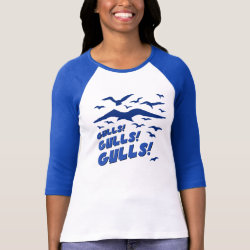 Ladies Raglan Fitted T-Shirt with Gulls! Gulls! Gulls! design