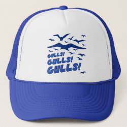 Trucker Hat with Gulls! Gulls! Gulls! design