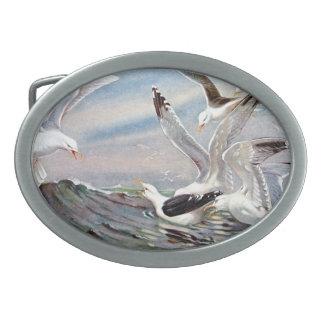 Gulls In Ocean Oval Belt Buckle