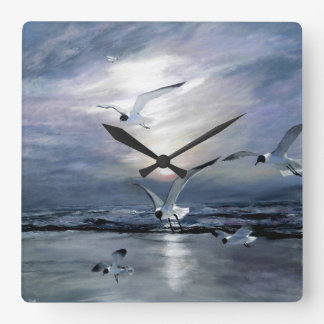 gulls landing square wall clock