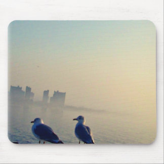 Gulls Looking out at City of Fog Mouse Pad