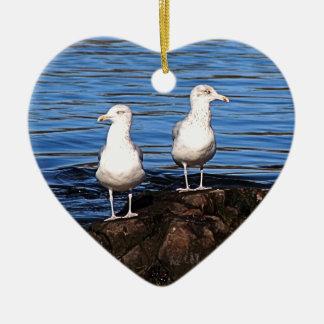 Gulls on the rocks ceramic ornament