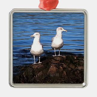 Gulls on the rocks metal ornament