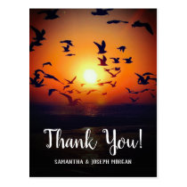 Gulls Silhouetted by Orange Sunset Thank You Postcard