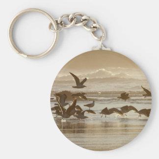 Gulls Taking Flight Basic Round Button Keychain