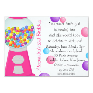 Gum Ball Machine Candy Party Girl Birthday Card