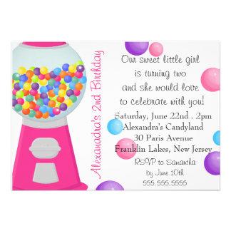 Gum Ball Machine Candy Party Girl Birthday Invites