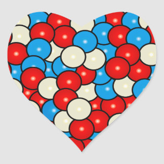 Gum Balls in Red, White and Blue Heart Sticker