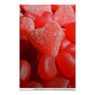 Gum Drop and Gummy Candy Hearts Poster