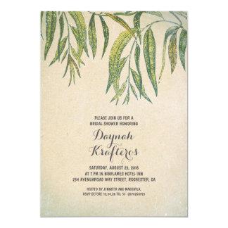 Gum tree leaves elegant vintage bridal shower 5x7 paper invitation card