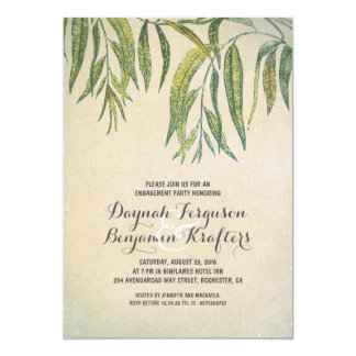 Gum tree leaves elegant vintage engagement party card