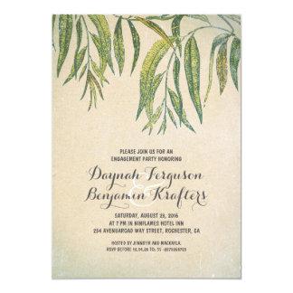 Gum tree leaves elegant vintage engagement party 5x7 paper invitation card