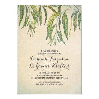 Gum tree leaves elegant vintage rehearsal dinner card